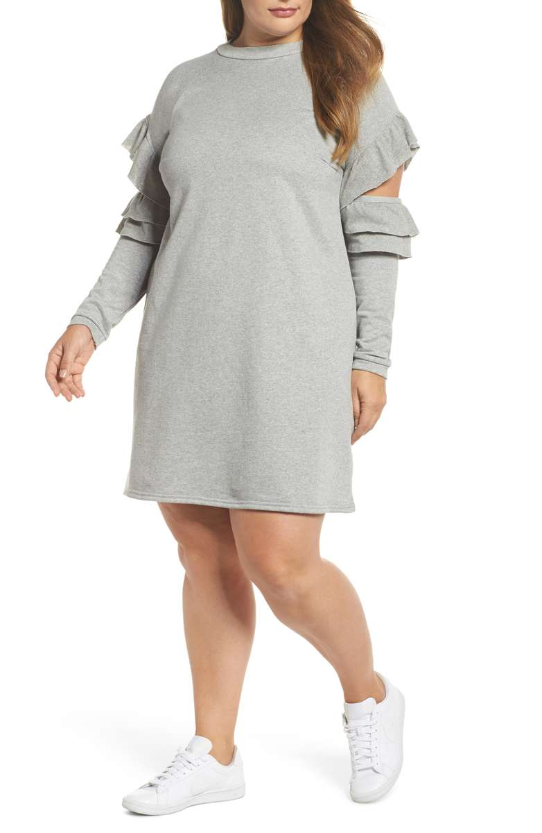 gray ruffle sleeve dress